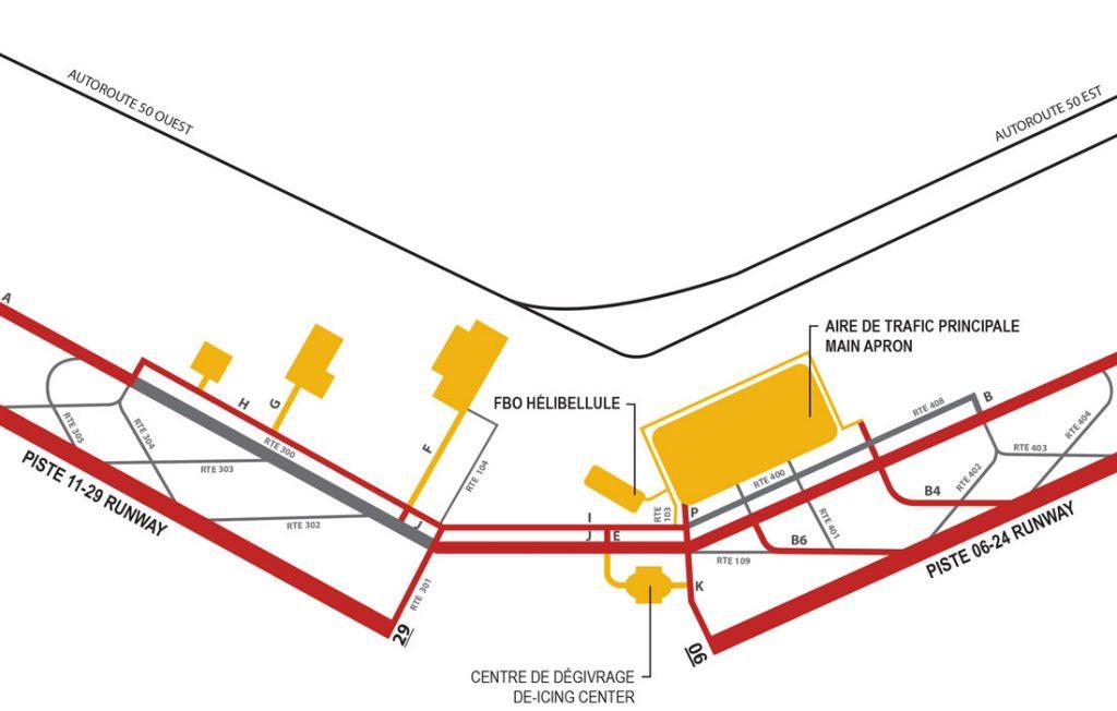 Plan détaillé de l'aéroport CYMX